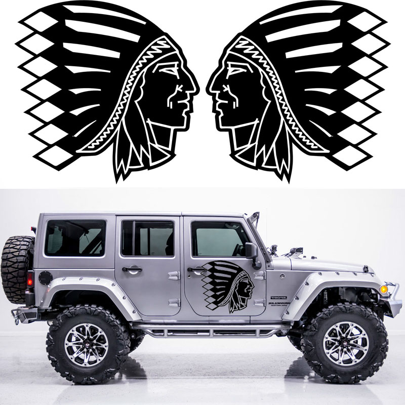 2x Indian Head Graphic (one for each side) Camper Van RV Trailer Truck Motor Home Vinyl Graphics Kit Decals Car Stickers 2pc claw scratches body side graphic vinyl decals for ford ranger2012 2015 truck decals badges detailing sticker
