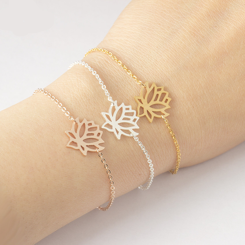 Rose goud lotusbloem armbanden voor vrouwen Boheemse sieraden - Mode-sieraden