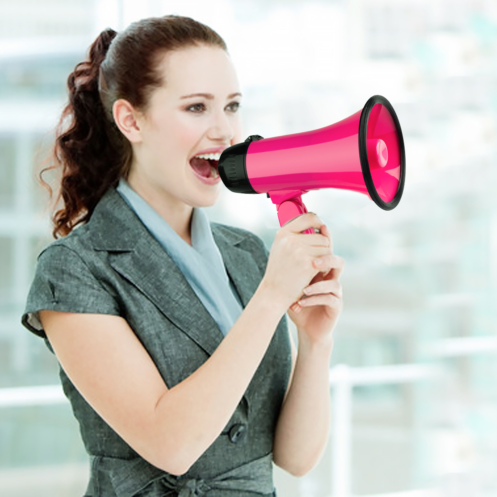 Mealivos Pink Portable Megaphone 20 Watt Power Speaker Bullhorn Voice And Siren/Alarm Modes