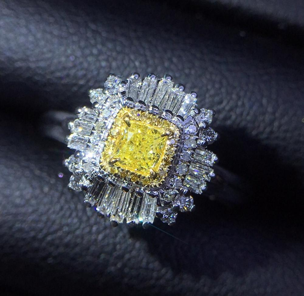 Fine Jewelry Real Pure 18 K Gold 100% Natural Yellow Diamond 0.22ct Wedding Engagement Female Rings for Women Fine Diamonds Ring