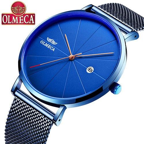 OLMECA Brand Quartz Watch Blue Dial Relogio Masculino Fashion Complete Calendar Wrist Watch 3ATM Waterproof Military Watches