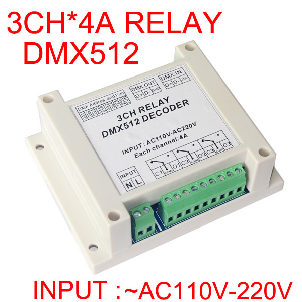 3CH DMX512 relay switch controller 3 channels relay decoder AC110-220V input,each channel max 5A Guide shell