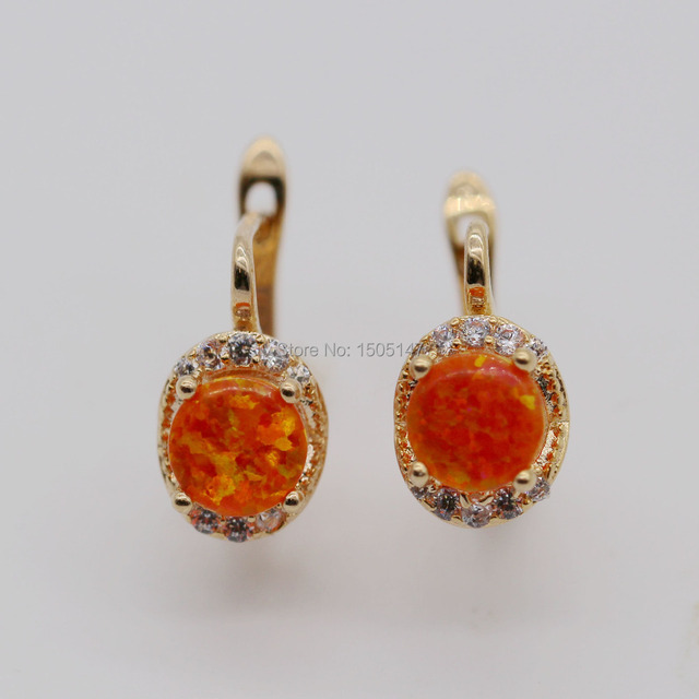 Beautiful Cute Simple Round Jewelry Orange Fire Opal 925 Gold Plated Stamp Earrings Wholesale