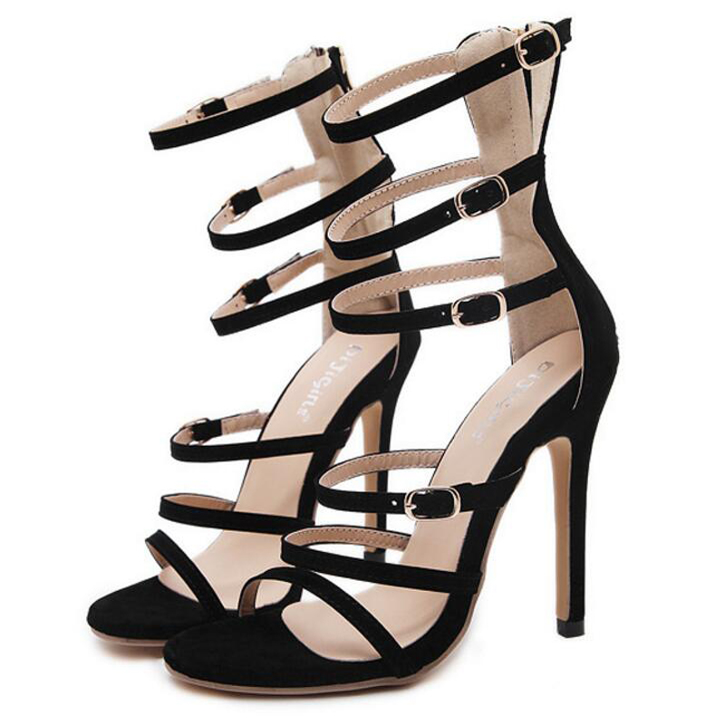 e3977df6e6a20b Fashion Gladiator Style Women Sandals Multi Color High Heels Ankle Wrap  Shoes Spool High Heels Sexy Summer Shoes For Women-in High Heels from Shoes  on ...