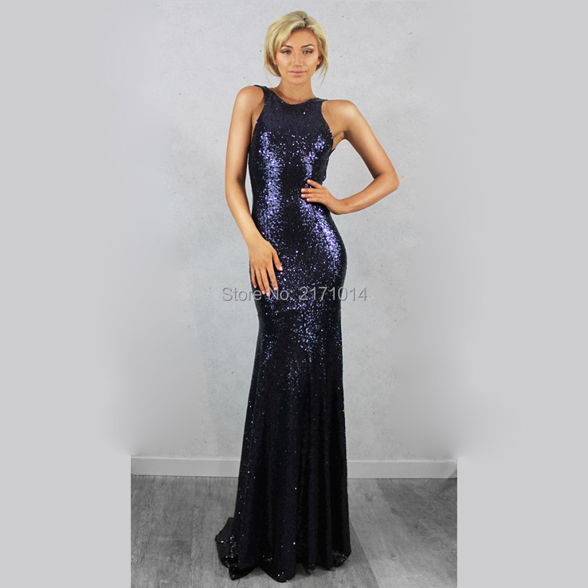 d968fac3e0980 New Sexy Shining Navy Blue Sequins Prom Dresses Long Mermaid Backless Floor  Length Evening Gown Custom Made-in Celebrity-Inspired Dresses from ...