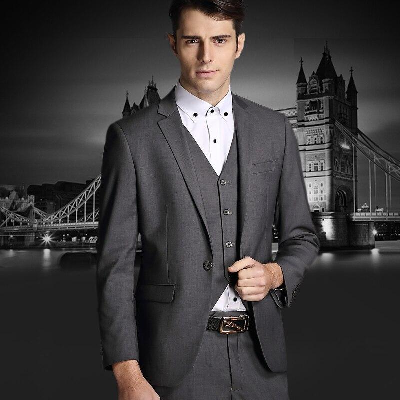 2016 Custom Made Men Mens Slim Suits Set 3 Psc Groom Wedding Suits For Men Dress Suit Blazer+Vest+Pants