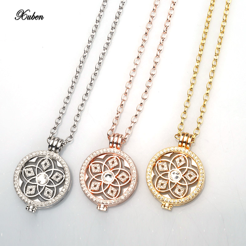 2016 New my 35mm mode  necklace pendant fit disc 33mm coin holder women girl decorative fashion jewelry crystal locket rose gold