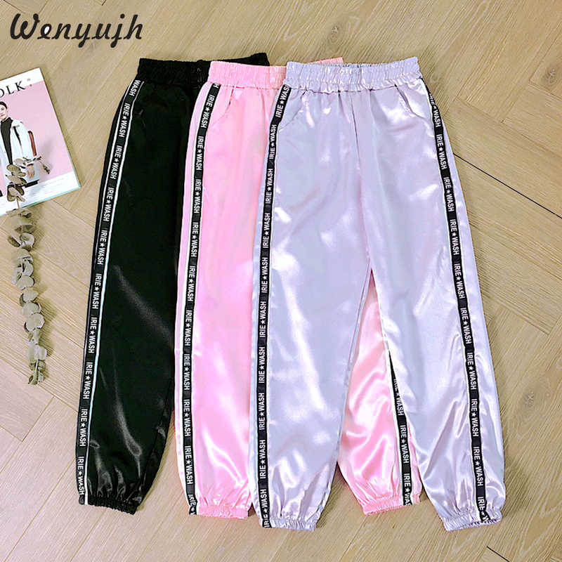 Wenyujh Big Pocket Women's Satin Highlight Glossy Loose Training Pants Ribbon Trousers Harajuku Joggers Women Running Sportswear