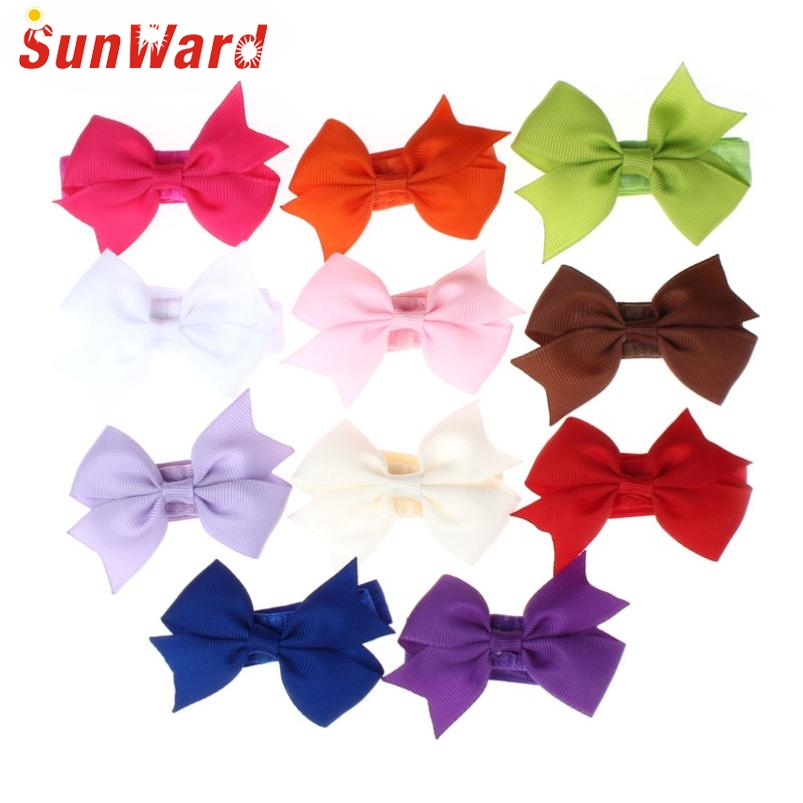 Newly Design 10pcs New Born Baby Elastic Headbands Big Bow Photography Hair Accessories Oct12