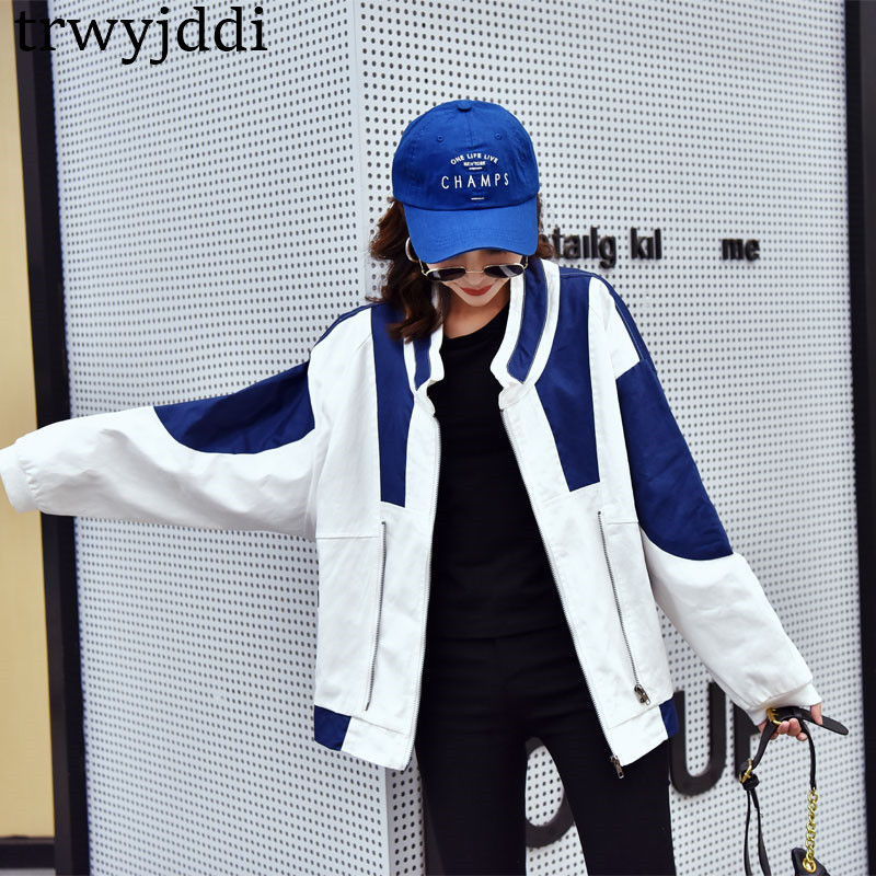 2019 New Spring Autumn Harajuku bf port wind Tooling   Basic     Jacket   Women Korean Loose baseball uniform Coats N453