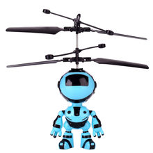 Remote Control Robot Toy Flying Mini RC Infraed Induction The Robot Flashing LED Light Safety Motion-sensitive Toys For Kid Gift(China)