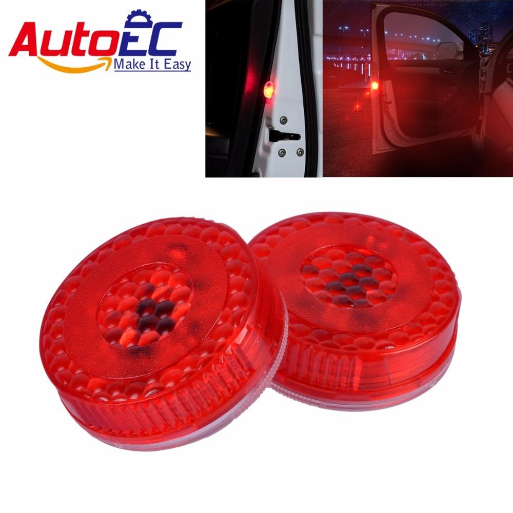 AutoEC 2x Flashing LED Warning Lamp Auto Strobe Traffic Light Car Door Lights Anti Collision Magnetic Control Car-styling #LQ673