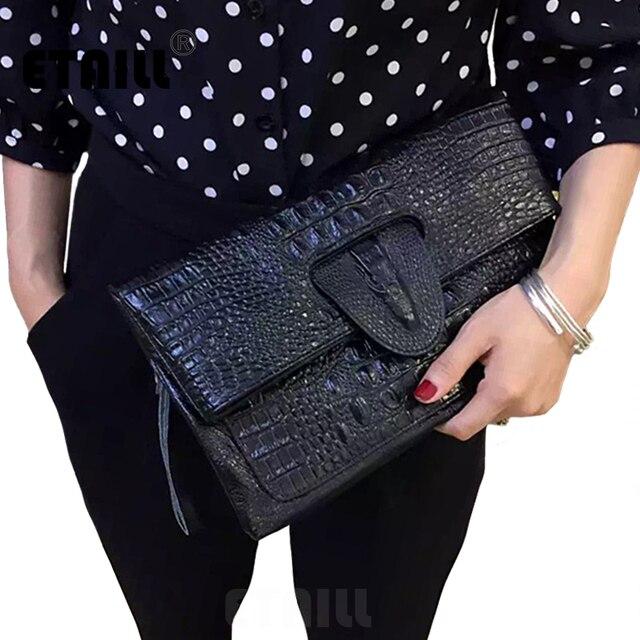 Alligator Leather Hand Bag Double Zipper Embossed Crocodile Clutch Wallet Male Travel Shoulder Bag Leather Envelope Clutches