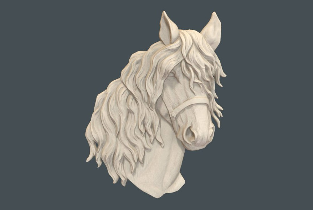 Horse Head 3D Relief Model In STL Format CNC Router Carving Engraving Artcam Aspire M98