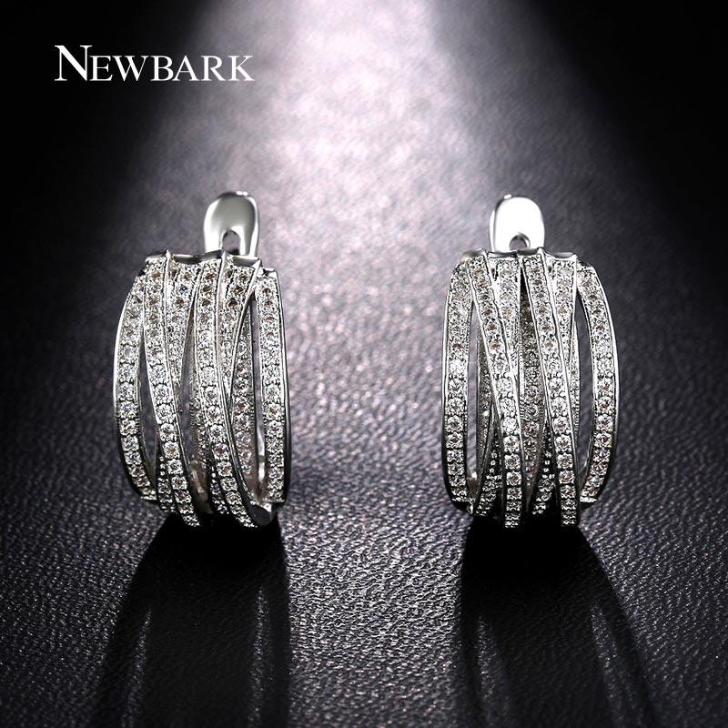 NEWBARK New Vintage Popular Women Earrings White Gold Plated European Innovative Multilayer Cross 1pair Pave Full