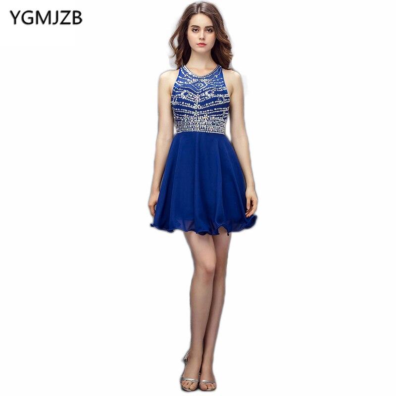 8332 24 De Descuentonuevos Vestidos De Cóctel Azul De Moda 2018 A Line Scoop Espalda Abierta Con Cuentas De Cristal Mini Vestido Corto Mujeres