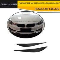 Adornos de Car-Styling Delantero De Fibra de Carbono Faro Párpados de Las Cejas para BMW F80 F82 M4 M3 Coupe Base Convertible de $ Number Puertas 2014-2017