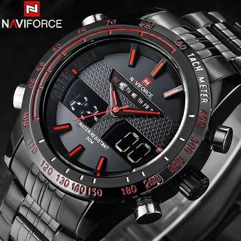 NAVIFORCE יוקרה מותג שעונים גברים פלדת קוורץ אנלוגי דיגיטלי LED שעון כפול זמן ספורט שעונים זכר שעון Relogio Masculino