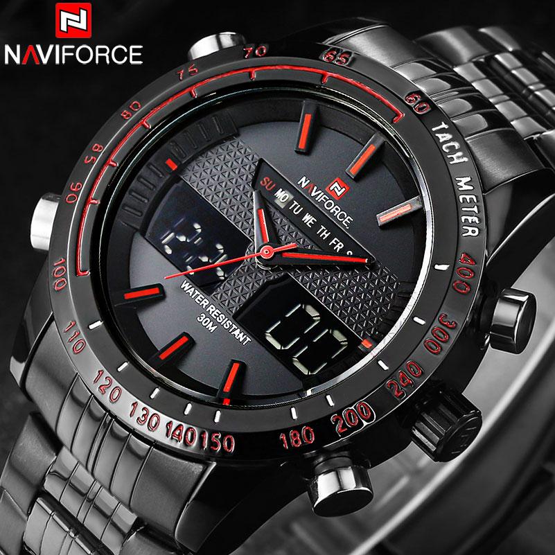 87e0e9195 NAVIFORCE Luxusní hodinky pro muže Plné oceli Quartz Analog ...