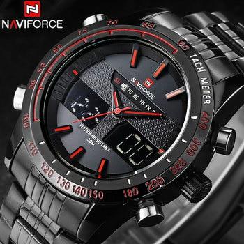 Relojes de marca de lujo de NAVIFORCE de acero para hombres, reloj LED Digital analógico, reloj deportivo de doble tiempo, reloj Masculino, reloj Masculino