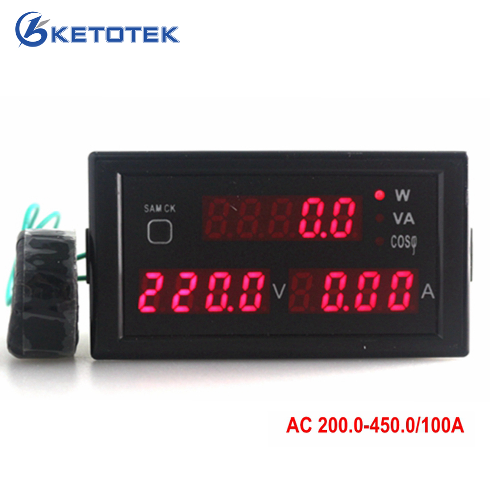 Red led display AC 200-450V 0-100A digital voltmeter Ammeter power meter compute active reactive power factor CT transformer ...