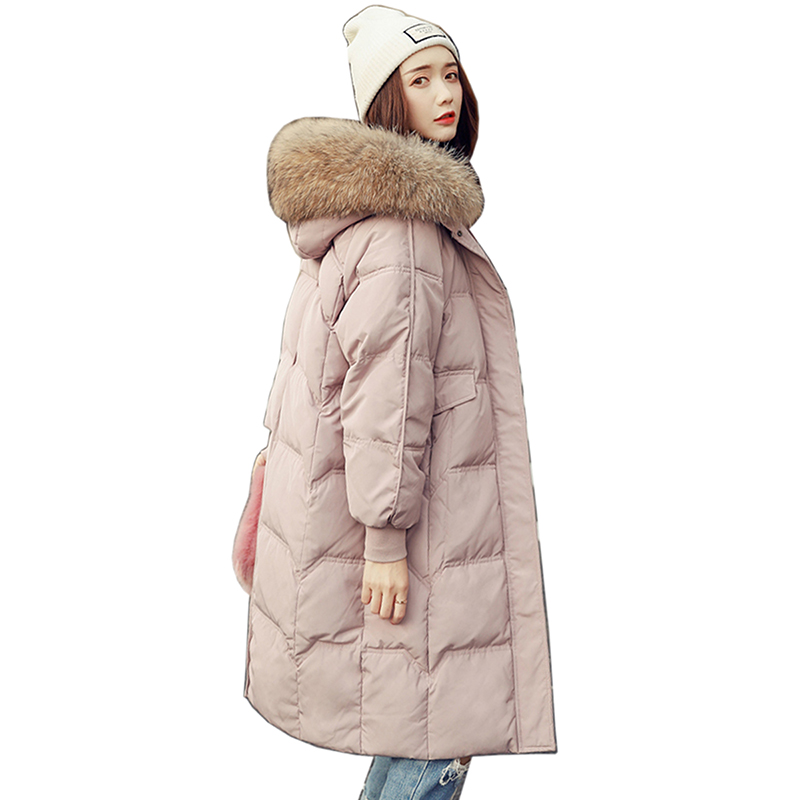 2018 Fashion Women White Duck   Down     coat   high quality Female Parka With Hood Pink Outwear For Female Brand Long Winter Jacket