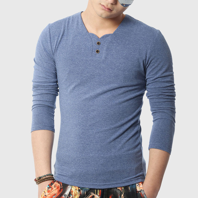 V Neck T Shirts With Buttons For Mens