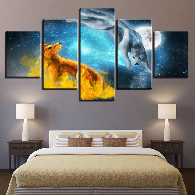 Home Decor Canvas Prints Pictures Framework 5 Pieces Snow Fox Moonlit Night Paintings Abstract Poster