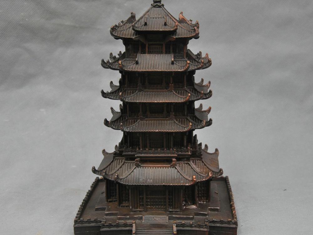 10''China Célèbre Jaune Grue Tour Palais Pagode Maison Bronze Statue