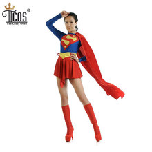 Supergirl Cosplay Costume DC Justice League Woman Birthday Party Unitard Spandex lycra Nylon Second Skin Tight Zentai Suit