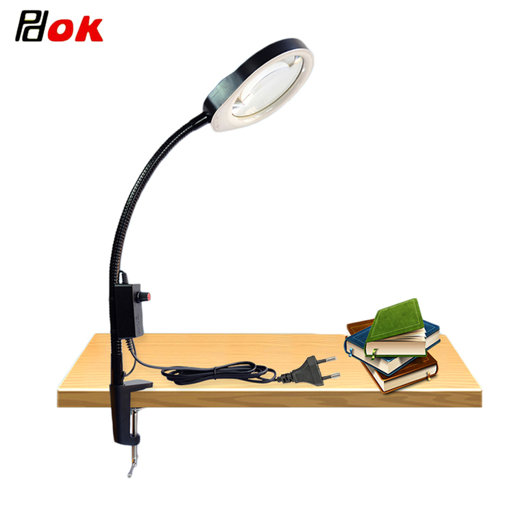 Clip on 10X 20X Magnifying Glass Lamp Adjustable Brightness LED light for Electronic Maintenance Jewelry Identification