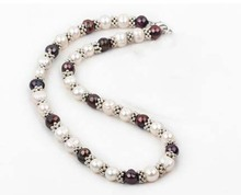 ФОТО black and white natural freshwater pearl metal sparking spacer necklace women or men