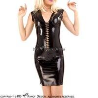 Черные пикантные без рукавов латекс платье со шнуровкой спереди резиновая Bodycon Женский костюм пляжного типа больших размеров LYQ 0092