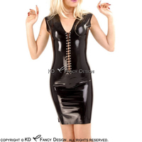 Black Sexy Sleeveless Latex Dress With Lacing At Front Rubber Bodycon Playsuit Plus Size LYQ 0092