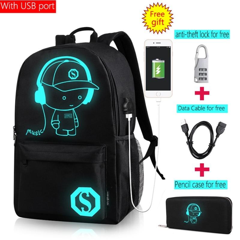 Casual Personalized Mochila font b Anime b font Cartoon Luminous Student Anti theft Backpack Men USB