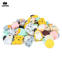 Lofca Manik Silikon 5 Pcs/lot Mini Hewan Manik-manik Tumbuh Gigi Perhiasan Bayi Teether Dot Klip Pearl Manik-manik Makanan Dental Care(China)