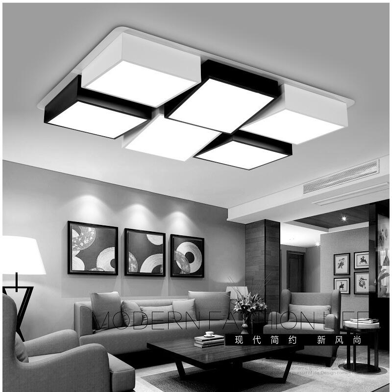 modern led ceiling lights tavan aydinlatma acrylic  living bedroom lamp design plafonnier lighting fixtures lamparas de techo noosion modern led ceiling lamp for bedroom room black and white color with crystal plafon techo iluminacion lustre de plafond