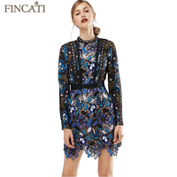 Women Dress 2017 Floral Lace Patchwork Embroidery Long Sleeve Mini Slim Sexy Black Party Dresses Vestidos