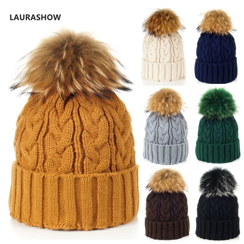 Laurashow Formato Adulto Maglia Cappello Caldo di Inverno Palla di Pelo  Vero Pompon Skullies Cappello Della a215258a7c4a