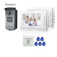 FREE SHIPPING BRAND NEW 7 Home Video Intercom Door Phone System With 2 White Monitor 1