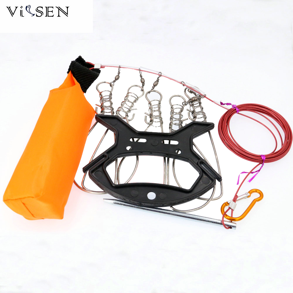 Vissen 5M Kukan Fishing Lock Buckle fishing accessories Stainless Steel 5 Snaps Chain Stringer With Float Live Fish Lock belt
