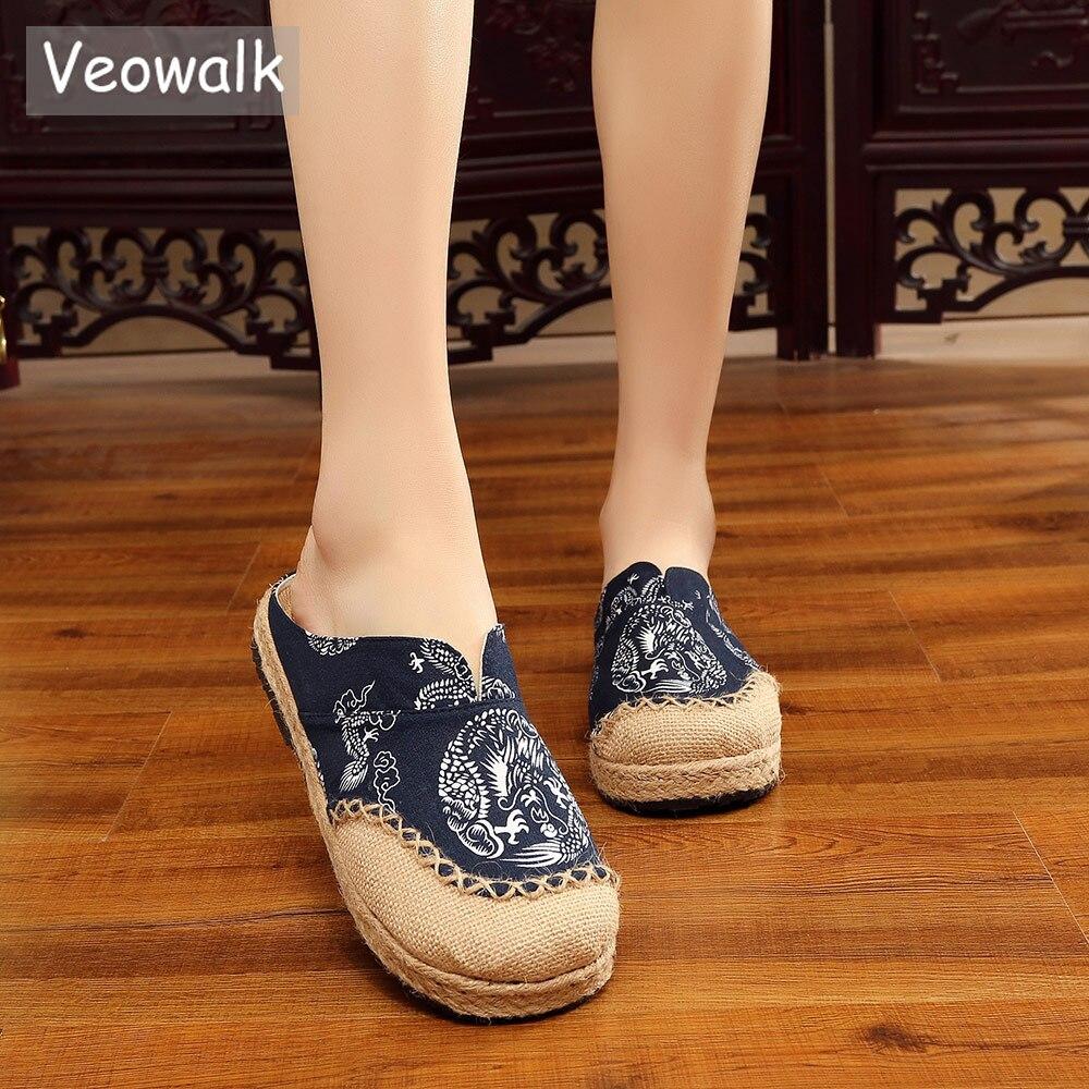 Veowalk Thai Totem Embroidered Women Black Linen Cotton Slippers Ladies Flat Slides Summer Canvas Sandal Shoes Plus Size 35-44