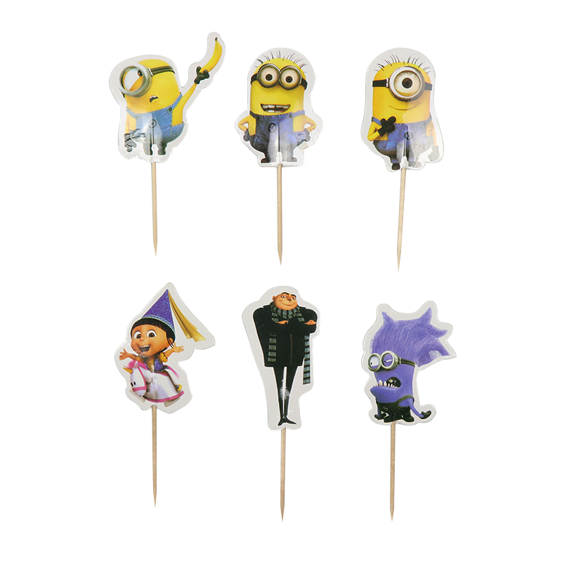 24PCS/set Cartoon Minions Cupcake Toppers Pick Funny For Kids Birthday Party Decoration Event Party Wedding Cake Topper Supplies