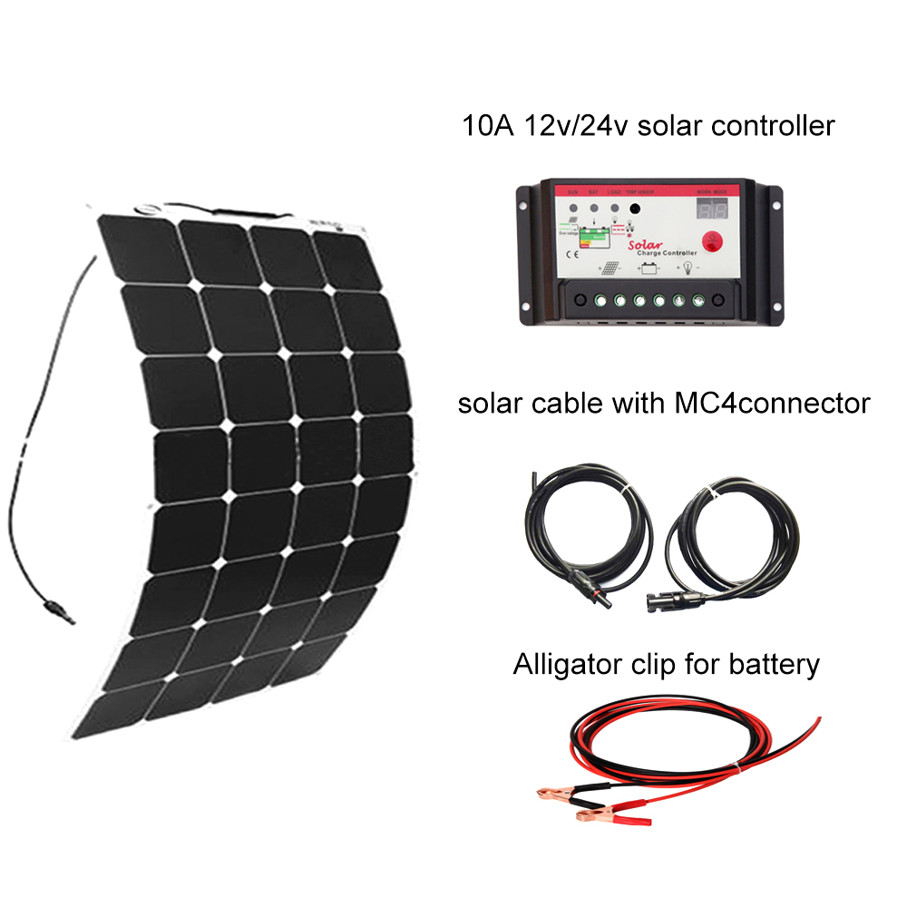Boguang Flexible 100W Solar panel kit 12V DIY System for home complete RV Boat Kits set sunpower panels controller 10A china