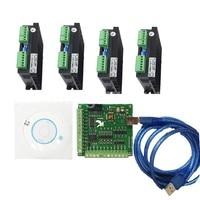 CNC mach3 usb 4 Axis Kit 4 Axis Driver 2DM542 + mach3 4 Axis USB CNC Stepper Motor Controller card 100KHz