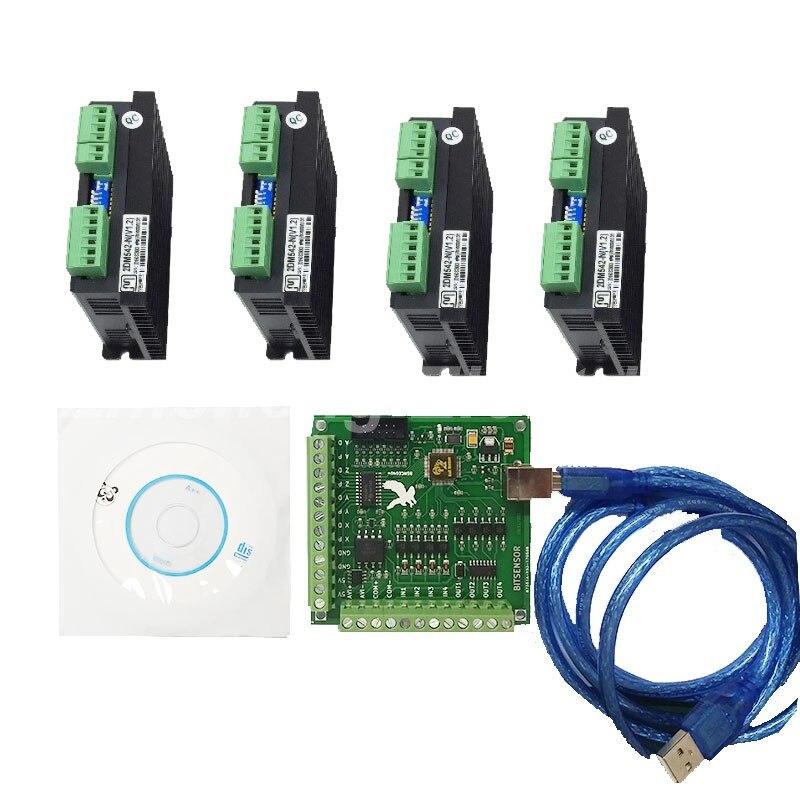 CNC mach3 usb 4 Axis Kit  4 Axis Driver 2DM542 + mach3 4 Axis USB CNC Stepper Motor Controller card 100KHz cnc mach3 usb 4 axis kit 4 axis driver 2dm542 mach3 4 axis usb cnc stepper motor controller card 100khz
