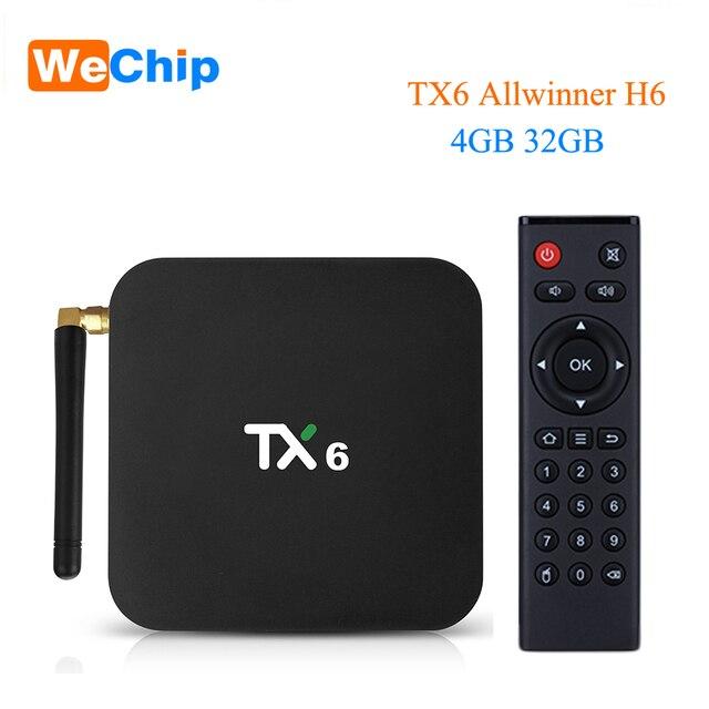 Wechip TX6 Allwinner H6 Android 9,0 ТВ коробка 4G 64G Quad core Двойной Wi-Fi Bluetooth 4,1 4 K H.265 HDR 3D Youtube Ott Media Player 1