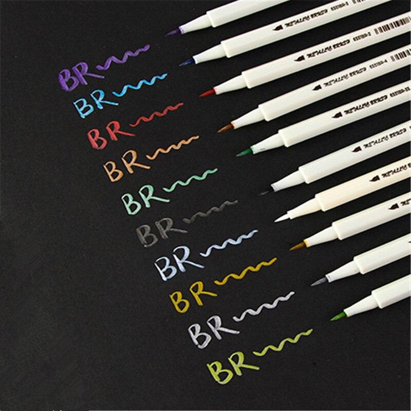 Qualidade de luxo 0 cor metálica escova caneta marcador de arte caneta desenho canetas para material de escritório da escola do estudante