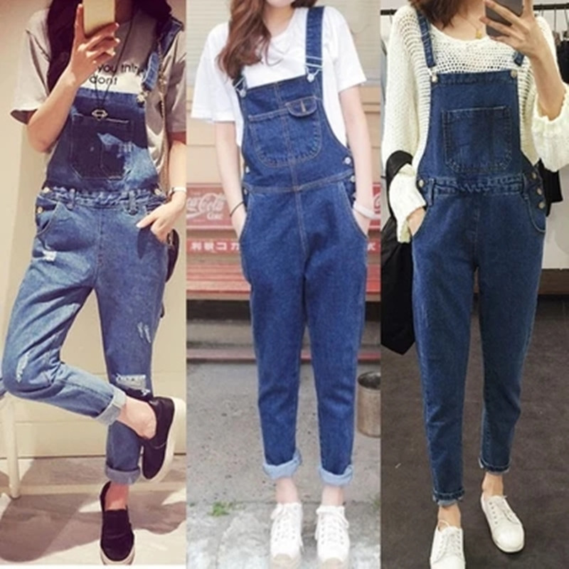 Women Ripped Denim   Jumpsuits   Casual Jeans Stretch Romper Lady Denim Overalls Stretch Harem Piece Pants Loose Hot Sale Dungarees
