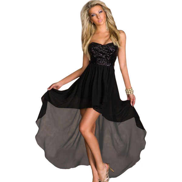 Popular Black Strapless Chiffon Dress-Buy Cheap Black Strapless ...